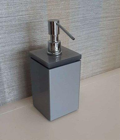 Saboneteira liquida Plus em acrilico Metalli/Cinza - Decor Acrilicos