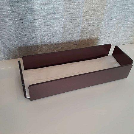 Bandeja / Porta papel toalha Curve em Acrílico Chocolate acetinado - Decor Acrílico
