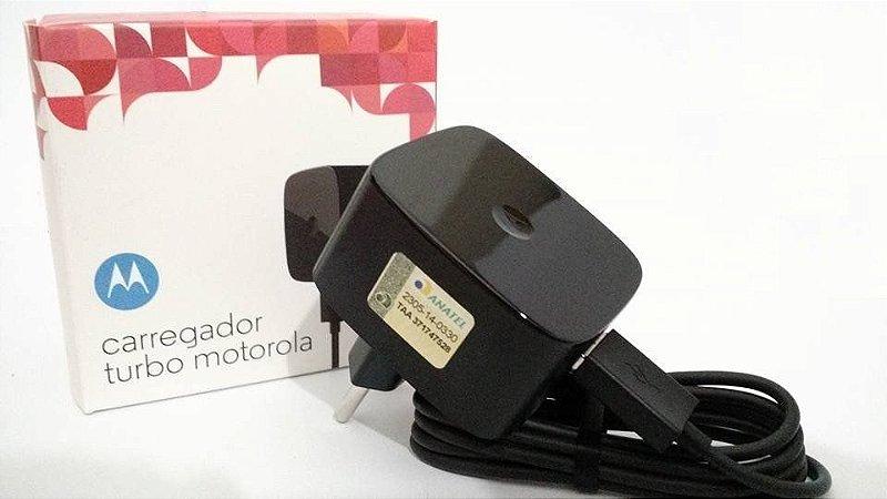 CARREGADOR TURBO MOTOROLA USB PRETO / FONTE MOTO TURBO E CABO DE DADOS MOD. ORIG
