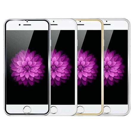 """PELICULA VIDRO IPHONE 6G PLUS ( 5.5"""")  DIANTEIRA COM BORDA PRATA ( CURVA )"""