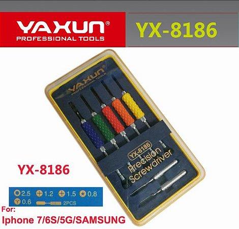 KIT CHAVE YAXUN YX8186 / JOGO DE CHAVE iPHONE 7 YAXUN YX-8186 ( 7 PEÇAS C/ ESTOJO )