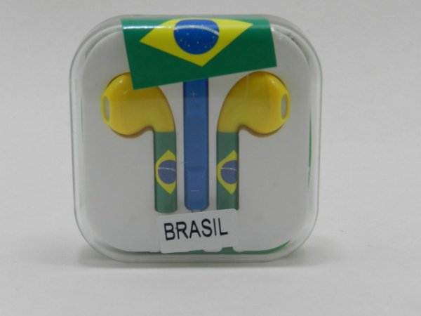 FONE DE OUVIDO iPHONE 5G / 5S / 6G BRASIL ( VERDE AMARELO )