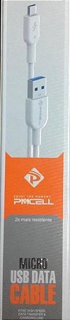 CABO DE DADOS MICRO USB PM CELL 2 METROS BRANCO / CABO 2 METROS MICRO USB SAMSUNG LG MOTORLA NOKIA SONY