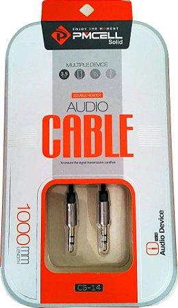 CABO DE AUDIO P2 / P2 PMCELL CB-14 - 1 METRO - BRANCO E DOURADO