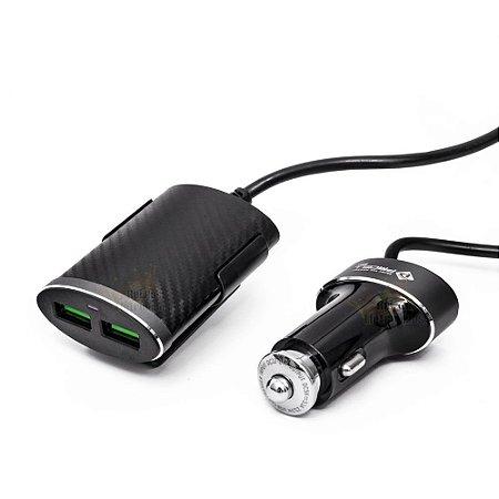 CARREGADOR VEICULAR TURBO PMCELL CV-42 COM 4 USB E EXTENSOR PARA BANCO TRASEIRO - 5.1A - 25w