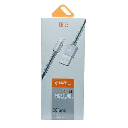 CABO DADOS / CARGA MICRO USB (V8) PMCELL CB-22 COM PONTA REFORÇADA - 1 METRO