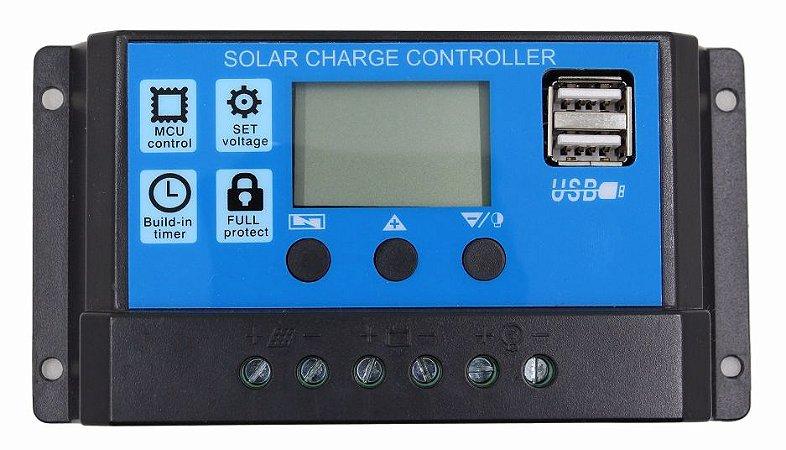 Controlador de Carga Solar 20A 12V/24V PWM Ysmart Tech RBL-20A - Com Display LCD