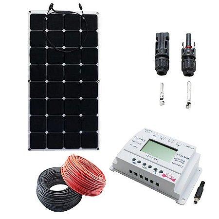 Kit 100Wp - Painel Solar Monocristalino - 12v Flexível