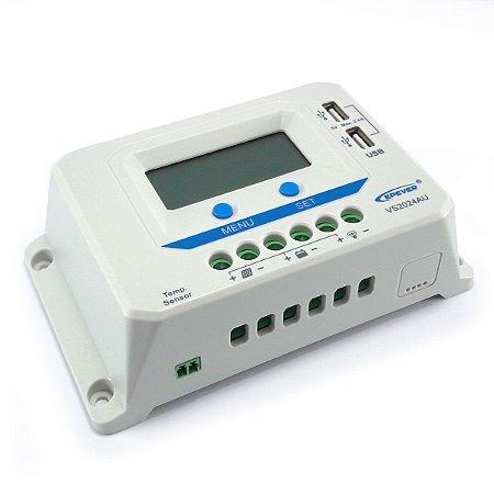 Controlador de Carga Solar 20A 12V/24V PWM Epever ViewStar VS2024AU - Com Display LCD