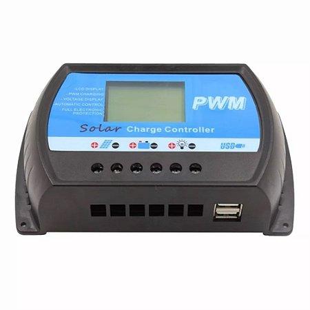 Controlador de Carga Solar 40A 12V/24V PWN Ysmart Tech RTD-40A USB Com Display LCD