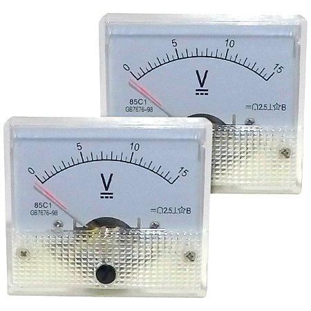 Par de Voltímetros Analógicos 15V DC SolarPro