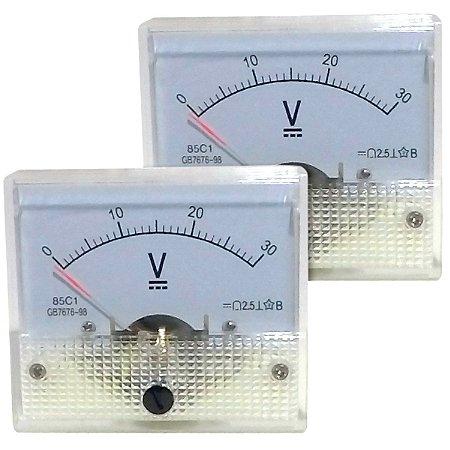 Par de Voltímetros Analógicos 30V DC SolarPro