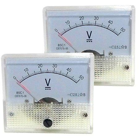 Par de Voltímetros Analógicos 50V DC SolarPro