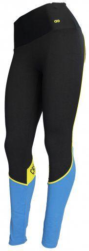 Legging Alto Giro Atheltic Preto/Azul/Amarelo Fluor