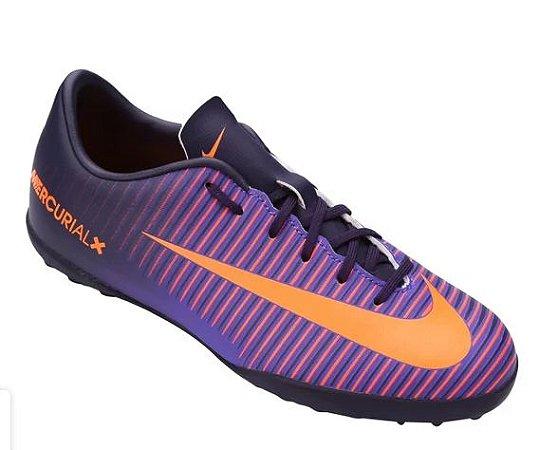 Chuteira Society Infantil Nike Mercurial Vapor XI TF - Roxo