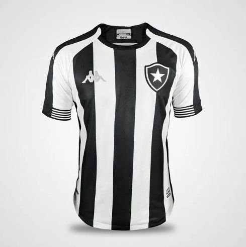 Camisa Botafogo I 20/21 s/n° Torcedor Kappa Masculina - Preto e Branco