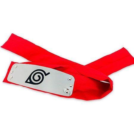 Bandana Vermelha Aldeia da Folha - Sakura Metal Cravado