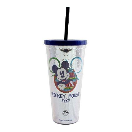 Copo com Canudo Mickey 90 Anos 650Ml Texturizado