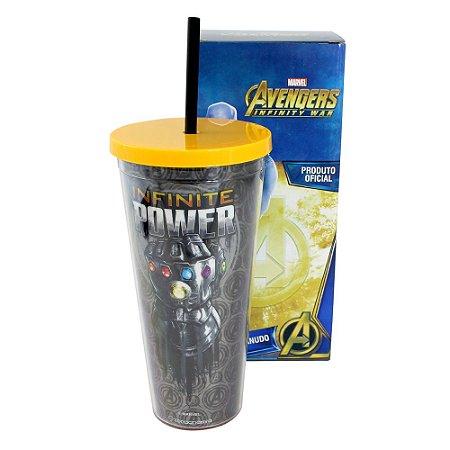 Copo com Canudo Avengers Infinite Power 650Ml Metalizado