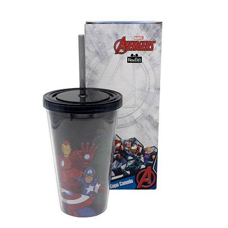 Copo com Canudo Avengers 500ML Plástico Enrijecido