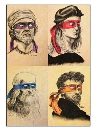 Quadro Decorativo Tartarugas Ninja: Pintores Personalizado Em Mdf