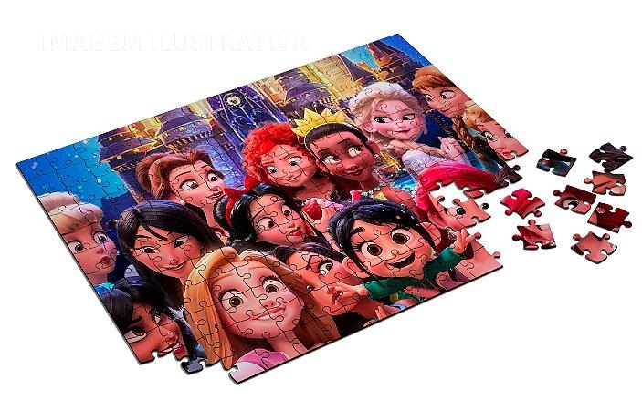 Quebra Cabeça Princesas Disney Personalizado Com Caixa em MDF