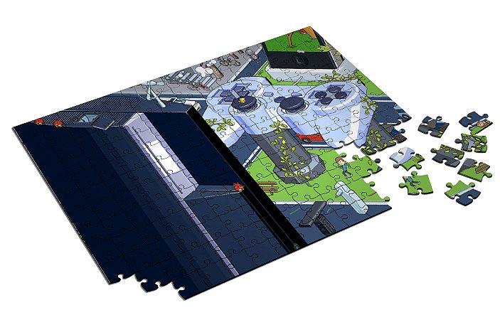 Quebra Cabeça Playstation Town Com Caixa em MDF