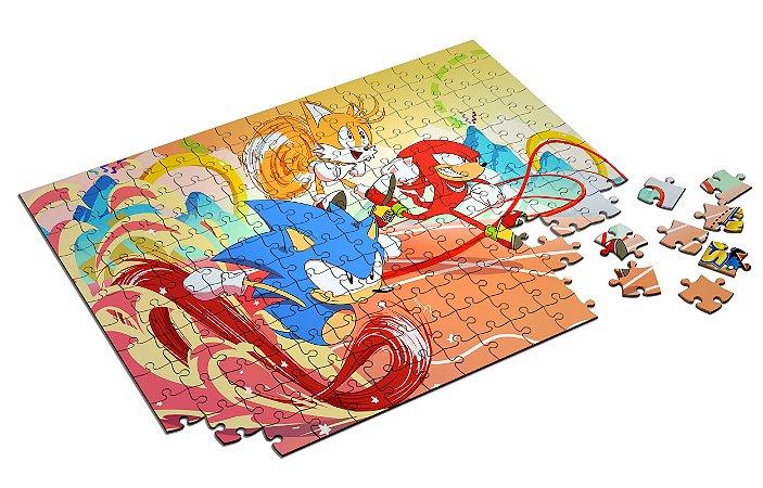 Quebra Cabeça Sonic Mania com Caixa em MDF