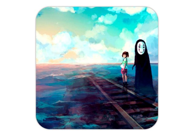 Quadro 18x18 cm - A Viagem de Chihiro - Arte Chihiro e Kaonashi