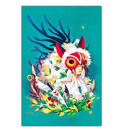 Quadro Decorativo Pintura A Princesa Mononoke Em Mdf