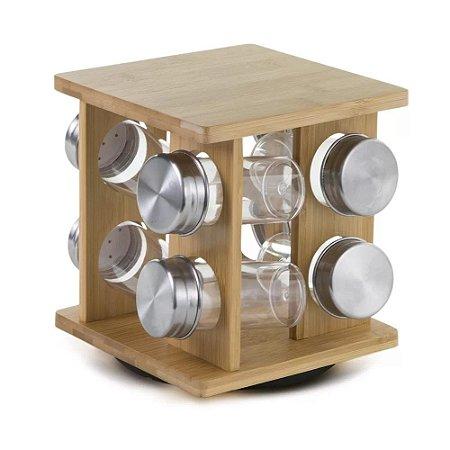Porta Condimentos Mimo Style Giratório Bambu com 8 Peças