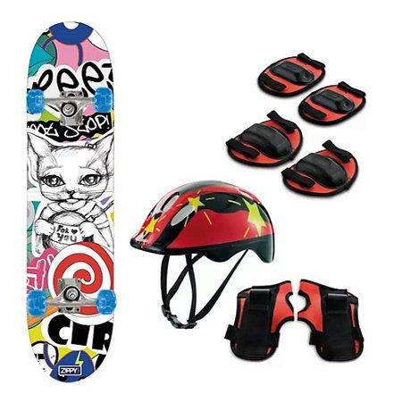 Skate Semi Profissional e Kit Proteção Gatinha  - Zippy Toys