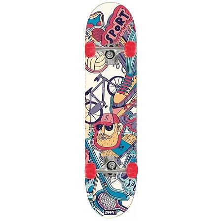 Skate Semi Profissional com Kit Proteção NOZ  - Zippy Toys