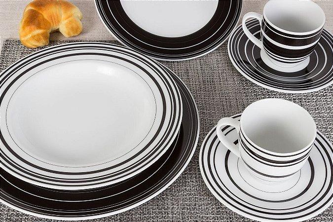 Aparelho De Jantar e Chá Mila Black 20 Pcs Casamiga