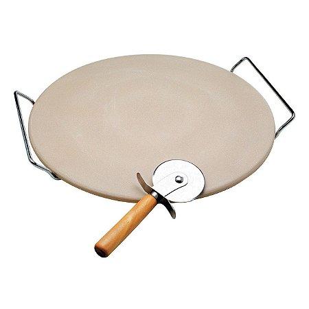 Pedra Para Pizza 33 Cm C/ Cortador