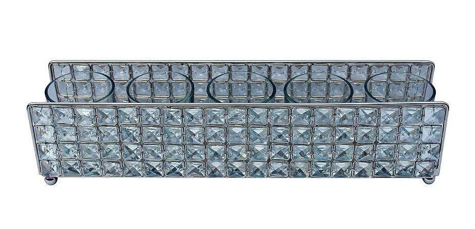 Porta Velas Clear Inox e Vidro 5 Velas L´Hermitage
