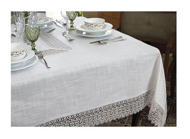 Toalha de Mesa Renda Guipure Nice Branca 2,20 x 2,20 cm Kacyumara