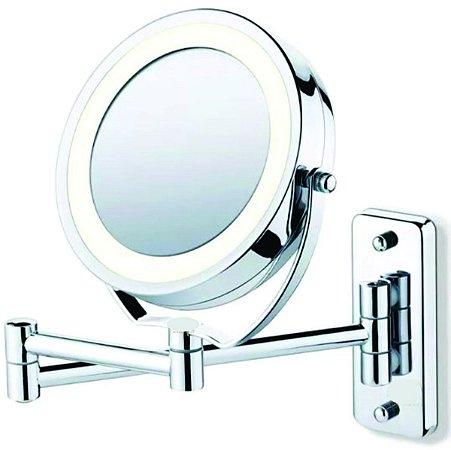 Espelho De Parede C/ Aumento E Luz De Led 5x de Aumento