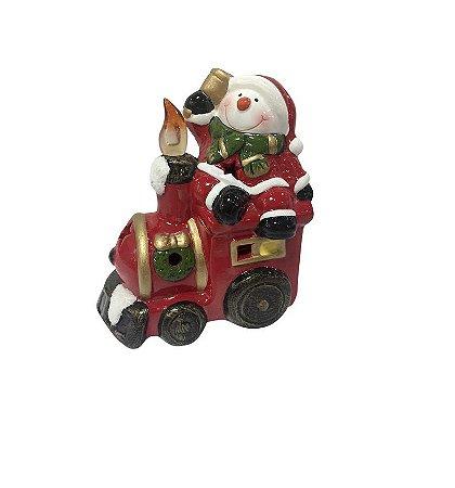 Enfeite de Natal Trenzinho com LED Colorido Boneco de Neve