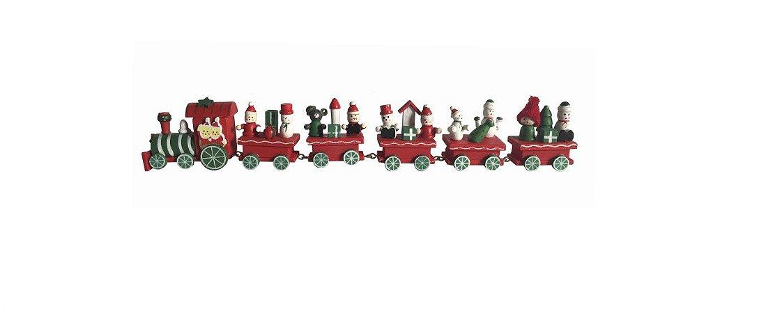 Enfeite de Natal Trem com 06 Vagões 30 cm