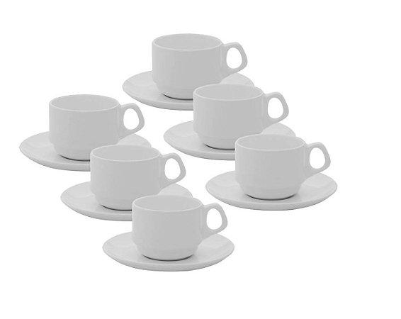 Jogo de Xícaras de Chá / Café c/ Leite 220 ml Empilhável Oxford
