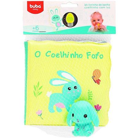 KIT LIVRINHO DE BANHO E COELHINHO COM LUZ - BUBA BABY