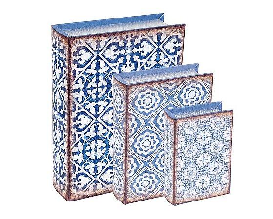 Kit com 3 Caixa Livro Azulejo Português Mart Collection
