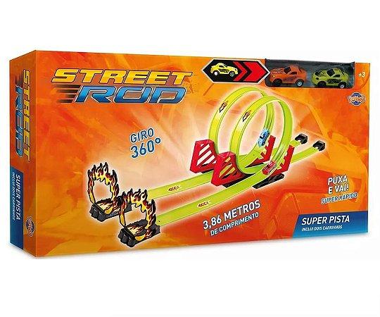 Super Pista Lançadora 02 Carrinhos Street Rod  3,86 m Toyng