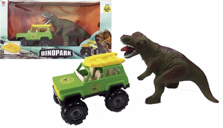 Dinossauro + Jeep + Bote Dinopark