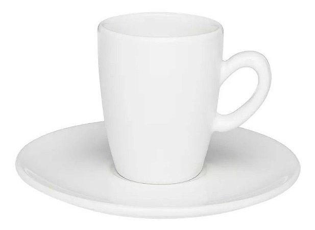Jogo Xícara Café Expresso Longo 75 Ml C/ Pires Branca Oxford