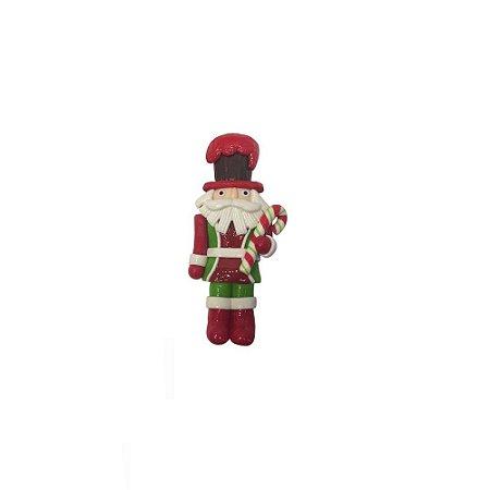 Enfeite de Natal Papai Noel Soldado com Caramelo em Resina