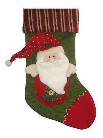 Bota De Natal Papai Noel Vermelha E Verde  47 Cm - Decoração