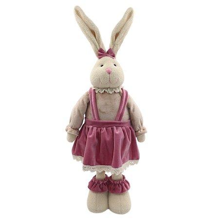 Coelho de Páscoa Fêmea com Vestido Rosa 67 cm