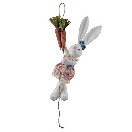 Decoração Páscoa Coelho Fêmea na Corda com Cenoura Floral